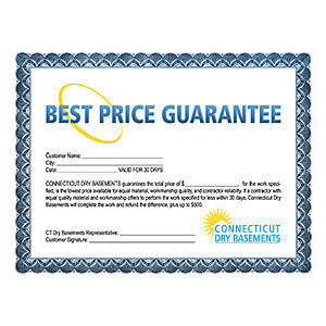 CT Dry Basements offers a best price guarantee. We'll beat the competition's total price for the work performed by any other licensed waterproofing contractor.